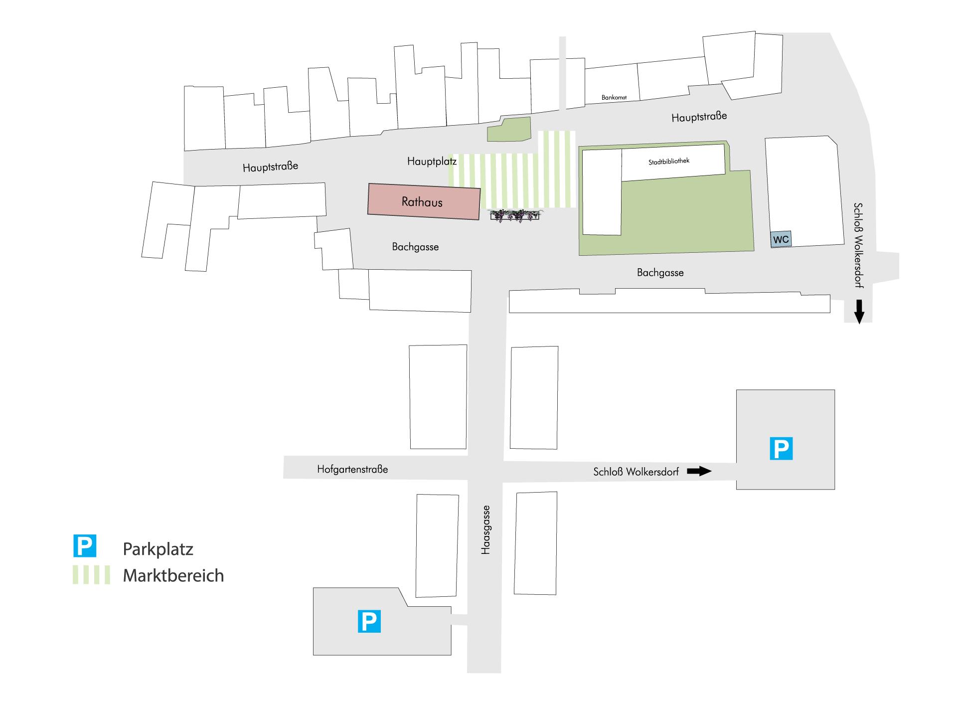 Lageplan Wolkersdorfer Wochenmarkt